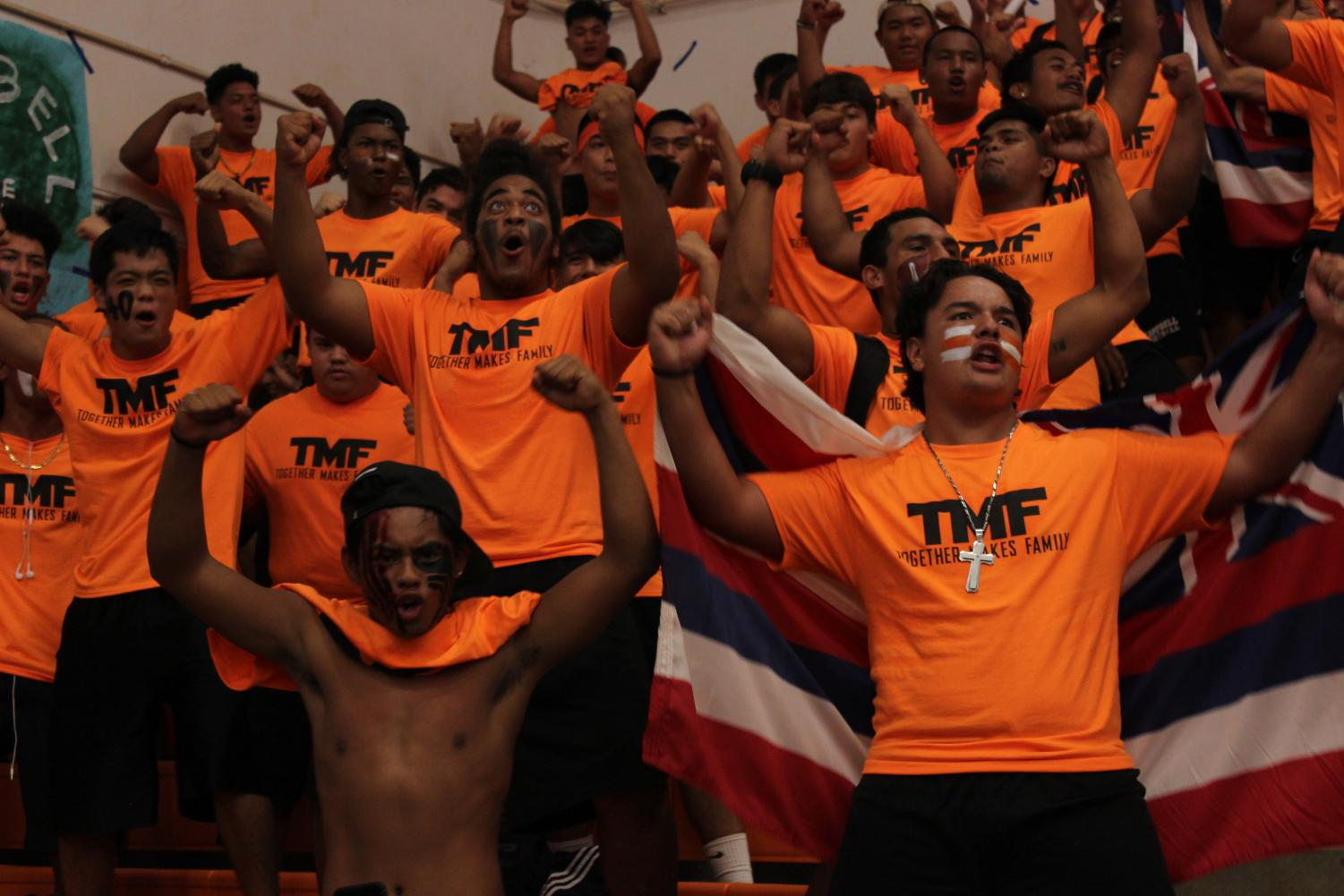 The James Campbell High School foot ball team doing their Haka at the cheer off assembly. Photo by Mahina Varley.