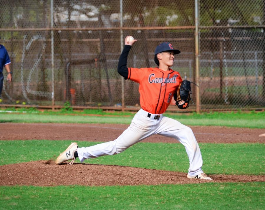 Logan Carvalho follows through his pitch with perfect form striking out the opponent. Photo by Logan Carvalho.
